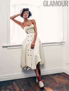 Posing it up:The 26-year-old model looked incredible in the images, in which she opted for sexy bustier style gowns while posing up a storm in her well-honed manner