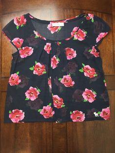 Abercrombie Kids's XL Blue Pink Floral Pattern Top Scoop neck Cap sleeves L20 #AbercrombieKids #Blouse #Career