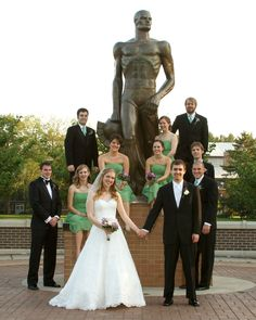Michigan State University, wedding photo at Sparty. East Lansing, MI. Tammy Sue Allen Photography