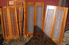 Vintage Wooden Shutters wooden 8 New England & 2 w/ glass shutters