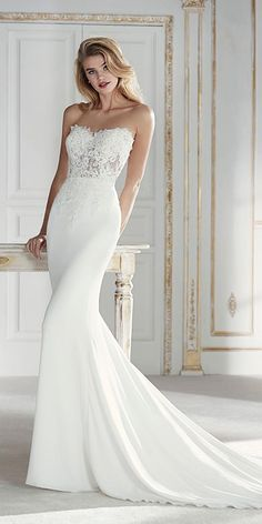 PAGET // A magnificently beaded wedding dress made from the finest bridal crepe and lace Wedding Dresses 2018, Designer Wedding Dresses, Bridal Dresses, Bridesmaid Dresses, Wedding Dresses Slim Fit, Wedding Dressses, Pronovias Wedding Dress, Form Fitting Wedding Dress, Look Fashion