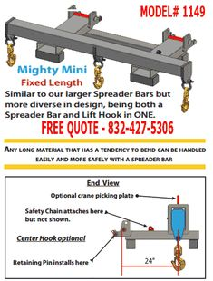 """Model 1140 Mighty Mini Spreader Bars are designed for use on tele-handlers (extendable–reach forklifts) and straight mast forklifts as well. It comes equipped with fork pockets that will accept up to 7″ wide x 2 ½"""" thick forks. The design has been reviewed and carries an engineer's stamp of approval to meet applicable ANSI standards and has been designed to 3 to 1 or better factor of safety."""