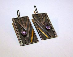 Art Deco Sterling Silver 925 Amethyst Statement Earrings 12K Vermeil Accent