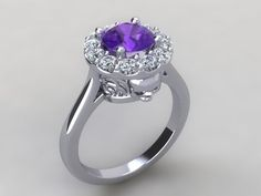 Skull Engagement Ring- Solid Silver with 1ct Lab Created Amethyst rd Center- UDINC0320 by UntilDeathInc.com