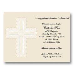 Diecut Ivory Ribbon Cross Baptism Invitations