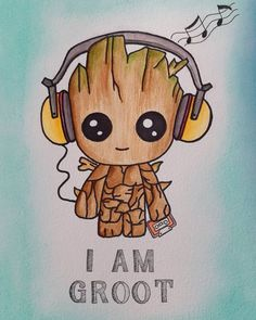 My little baby groot, loved this buddy. The cute music lover🌿🌳 My little baby groot, loved this buddy. The cute music lover🌿🌳 Cute Disney Drawings, Kawaii Drawings, Cartoon Drawings, Cute Drawings, Drawing Disney, Colorful Drawings, Pencil Drawings, Cartoon Wallpaper Iphone, Cute Disney Wallpaper