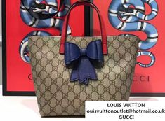 d81658a233c0d5 Gucci Children'S GG Supreme Canvas Bow Tote Bag 457232 Blue 2017
