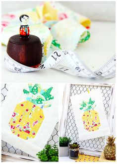 pieced pineapple fruit quilt block