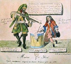 """""""Dragonnades"""" was a French policy instituted by Louis XIV to intimidate Huguenot families into either leaving France or re-converting to Catholicism. With the revocation of the Edict of Nantes in 1685, Louis XIV withdrew the privileges and toleration that Protestant Huguenots in France had been guaranteed under the edict for nearly 87 years, and ordered the destruction of Huguenot churches and the closure of Huguenot schools."""