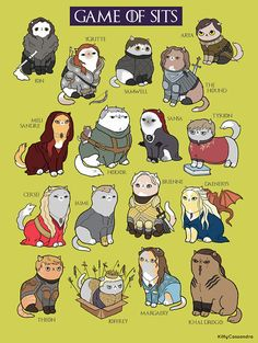 "The ""Game of Sits"" is funny fan art or parody art inspired by Game of Thrones, featuring cats! Game Of Thrones Cat, Dessin Game Of Thrones, Game Of Thrones Comic, Tyrion And Sansa, Arya, Game Of Throne Lustig, Game Of Thrones Instagram, Game Of Trones, My Champion"