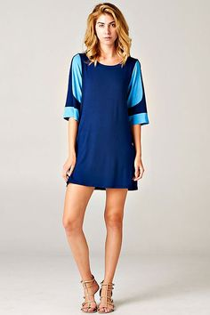BLUE COLORBLOCK SLEEVE SHIFT DRESS