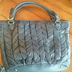 Mido Mido Leather tote All leather quilted blue tote. Never used. Perfect condition. Brass hardware. Zip closer Mido Mido Bags Totes