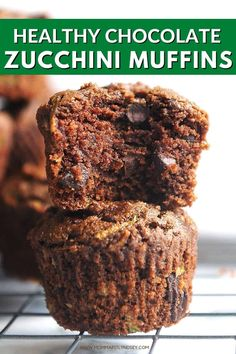 These Healthy Chocolate Zucchini Muffins are made with healthy ingredients, no refined sugar and are dairy free. Super moist and delicious with chocolate flavor, they will be a hit in your home! Gluten Free Zucchini Muffins, Sugar Free Muffins, Zucchini Chocolate Chip Muffins, Zucchini Muffin Recipes, Double Chocolate Muffins, Zuchinni Recipes, Healthy Muffin Recipes, Healthy Muffins, Healthy Treats