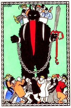 Vintage Krampus postcard by Hungarian artst, Josef (von) Diveky