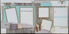 I just couldn't resist creating BEACH pages with RUSTIC Home Fundamental Paper pack. These are pages 5&6 from my Kit of the Month Club.  Click on the link to read all about it.