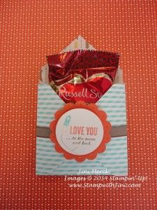 Love You to the Moon Envelope Treat Pouch, Stampin' Up! and Retro Fresh Designer Series Paper from the Occasions Catalog - a great treat for Valentine's Day or even a baby shower with this sentiment