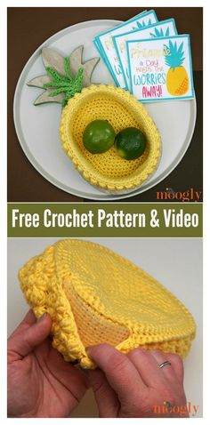 Pineapple Basket Free Crochet Pattern and Video Tutorial #freecrochetpatterns #baskets