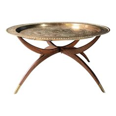Fabulous mid-century brass tray coffee table with a sculptural folding mahogany base. Base collapses making storage or transport easy. Morrocan Coffee Table, Brass Coffee Table, Morrocan Decor, Moroccan Bedroom, Moroccan Lanterns, Moroccan Interiors, Moroccan Tiles, Tea Tray, Wooden Slats