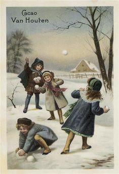 ♥Illustration pour une boîte de chocolat Van Houten Vers 1920-1930