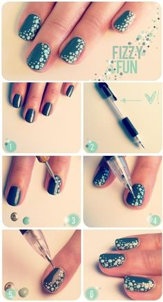 Have a look at some DIY nail art, DIY nail designs and DIY nail art ideas that you may consider taking into account. Take a look at the diy nail art step by step and if you love to experiment with your nails, you can try these nail art. Nail Art Diy, Easy Nail Art, Cool Nail Art, Diy Nails, Cute Nails, Pretty Nails, Teal Nails, Black Nails, Uñas Diy