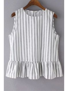 Women New Arrival Striped Ruffles Tops Fashion Causal Sleeveless Peplum Blouse Summer OL Elegant Blouse TunicStriped Jewel Neck Sleeveless Ruffles Spliced T-ShirtTees For Women Trendy Fashion Style Online Shopping Crop Top Outfits, Cute Casual Outfits, Diy Clothes, Clothes For Women, Trendy Fashion, Fashion Outfits, Tees For Women, Blouse Designs, Online Shopping