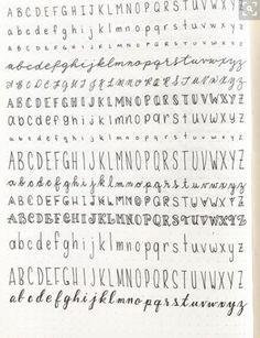 Schriftarten Hand written lettering different fonts practice alphabet Bullet Journal School, Bullet Journal Headers, Bullet Journal Ideas Pages, Bullet Journal Inspiration, Handwriting Alphabet, Hand Lettering Alphabet, Cute Handwriting Fonts, Calligraphy Fonts Alphabet, Improve Handwriting