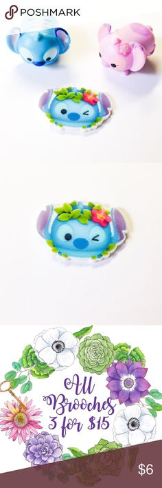 """🆕 Hula Stitch Pin ***All brooches are 3 for $15, create a bundle and offer $15 - I will accept as soon as I see it, thank you! (Offer applies to all brooches in my closet - mix and match)***  Handmade brooch with a Hula Stitch charm.  We offer 15% off on all bundles. You can """"Add to Bundle"""" to get discount.  Most items listed are ready to ship but if you need something sooner please let us know before ordering.  Thank you for shopping my closet! Magic Main Street Jewelry Brooches"""