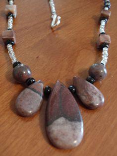 Brown Zebra Jasper beaded gemstone necklace silver brown black. $12.00, via Etsy, BaileyBeadz