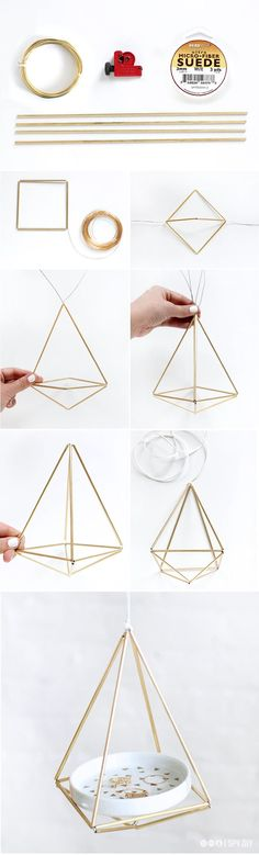 Need to make these brass himmeli hangers for some trendy in-home decor (via I Spy DIY)