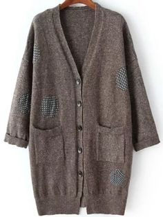 Coffee Polka Dot Buttons Pockets V Neck Loose Long Cardigan Fall Cardigan Sweaters, Long Cardigan, Fall Patterns, Coffee Type, Neck Pattern, Polka Dots, V Neck, Buttons, Pockets
