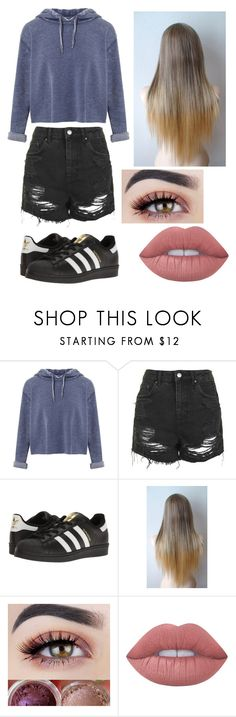 """ToMbOy QuEeN"" by eliza-winstanley ❤ liked on Polyvore featuring Miss Selfridge, Topshop, adidas Originals and Lime Crime"