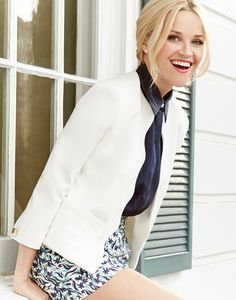 love love love the scalloped edge on this jacket: Reese Witherspoon in Draper James Spring '16