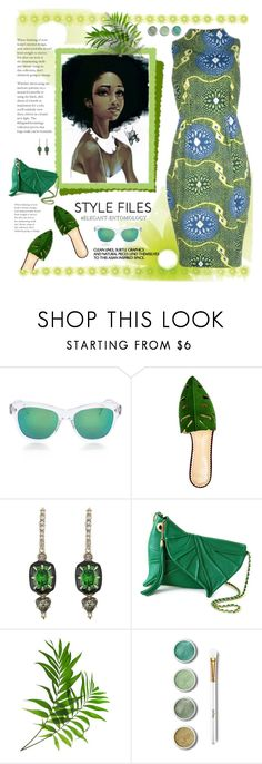 """Cool and Green and Shady"" by fassionista ❤ liked on Polyvore featuring Stella Jean, Oliver Peoples, Aquarelle, Charlotte Olympia, Alexis Bittar, Terre Mère, GREEN, dress, leaf and fashionset"