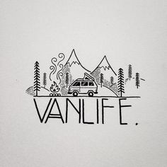 Would you do van life? Cool Easy Drawings, Art Drawings, Van Drawing, Life Drawing, Deco Surf, Doodles, Travel Drawing, Camping Drawing, Grafik Design