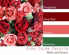 $250 Wedding Flower Package in burgundy, wine, deep red, guava and greenery Red Color Schemes, Red Colour Palette, Wedding Color Schemes, Wedding Color Palettes, Raspberry Wedding Color, Cranberry Wedding Colors, Burgundy Wedding Colors, August Wedding Colors, Beach Wedding Colors