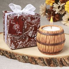 Wine Barrel Themed Tea Light Candle Holder- Vintage wine and candle light make the perfect setting for your next event. Decorate your tables with these lovely wine barrel candle holders and offer them as favors for your guests to take home. This wine Vintage Wedding Favors, Diy Wedding Favors, Gifts For Wedding Party, Bridal Shower Favors, Summer Wedding, Craft Wedding, Wedding Beach, Wedding Cards, Wedding Decor
