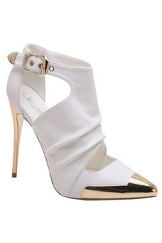 Chanel Gold Plate Heel Toe White Leather Bootie