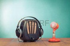 Retro radio, red microphone and headphones old style #photo! #Vintage #popular
