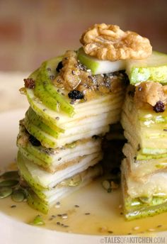 pear mille feuille with walnut butter