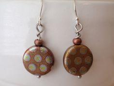Antiqued Czech glass dangle earrings on sterling by OneZenFlower, $19.00