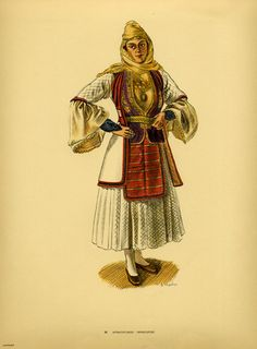 Traditional women's costumes from Southern Albania Greek Traditional Dress, Traditional Outfits, Folk Costume, Costumes, Greek Clothing, In Ancient Times, Pli, Albania, Folklore