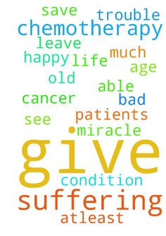 Dear God! My father suffering from chemotherapy please - Dear God My father suffering from chemotherapy please save my father, dont give so much trouble please god, give him to leave happy life atleast this old age please god do some miracle for cancer patients please god my father condition is very very bad ,not able to see that please god help my father. ..... Posted at: https://prayerrequest.com/t/zbW #pray #prayer #request #prayerrequest