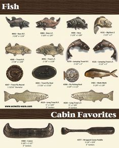 BuckSnort Lodge Products fish knobs and cabinet pulls - canoe and canoe paddle cabinet pulls
