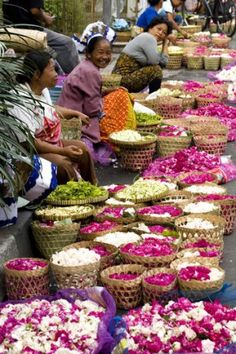 Flower sellers at a street-side market in Yogyakarta. Indonesia