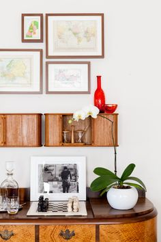 Vintage furniture pieces styled together.