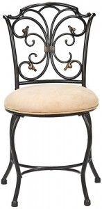 An ornate black and gold scrollwork back and plush sueded fabric seat give this vanity stool a glamorous feel. From Hillsdale Furniture. Hillsdale Furniture, Bench Furniture, Bathroom Furniture, Gold Furniture, Furniture Vanity, Bathroom Ideas, Furniture Depot, Iron Furniture, Bathroom Makeovers