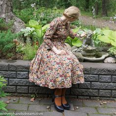 An autumn dress out of 3 patterns: Pauline Alice's Cami and Sew Over It Rosie dress and the Vintage Shirt Dress. Dress Out, Shirt Dress, Brown Tights, Farm Fashion, Sew Over It, Mix N Match, Vintage Shirts, Classy, Autumn