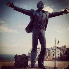 Monument to Domenico Modugno (Mr. Volare) in his birthplace, Polignano a Mare (Bari) Apulia, Italy