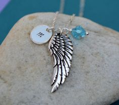 Silver Wing Initial Charm Necklace  Angel Wing by SeaSaltShop, $23.00