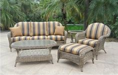 RATANA! Really neat, Resine that looks JUST like wicker! Sunbrella fabrics which are solution dyed fabrics made to prevent fading, mildew and have great durability!    Valley Ridge has lots of great outdoor furniture so come on in and check it out!    http://www.valleyridgefurniture.com/links.php
